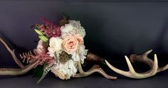 Beautiful bridesmaid bouquet with hydrangeas, astilbe, Sahara roses, scabiosa pods and Veronica. | Flowers by Emily