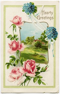 Old Design Shop ~ free printable ~ Hearty Greetings vintage postcard