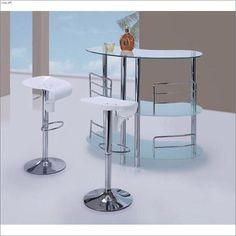 Modern  White 3pc Bar Table Set