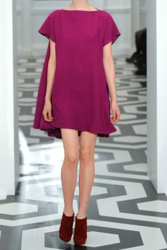Victoria Beckham Wool and Silk-blend Trapeze Dress in Purple (magenta) - Lyst