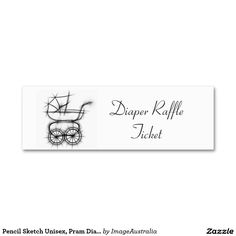 Pencil Sketch Unisex, Pram Diaper Raffle Ticket Double-Sided Mini Business Cards (Pack Of Diaper Raffle Tickets, Business Cards, Sketch, Pencil, Things To Come, Unisex, Mini, Prints, Lipsense Business Cards