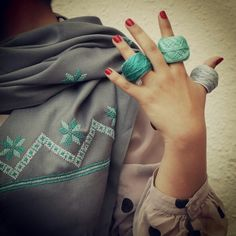 Bethleham star stitch - Bethleham area - Palestine  Grey scarf