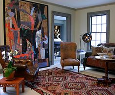 Oversized Art | Dransfield & Ross. Love the colors, mixture of furniture styles, and the overall look.