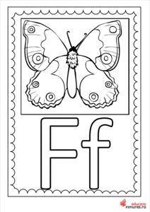 Litera F - planșă de colorat Learning The Alphabet, Preschool, Clock, Teaching, Activities, Double Deck Bed, Watch, Nursery Rhymes, Clocks