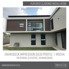 Envirodeck composite decking is a well-known, local wood plastic composite brand and a leading supplier of environmentally friendly decking materials. Decking Material, Composite Decking, Cladding, Mocha, Screens, Profile, Mansions, Create, House Styles