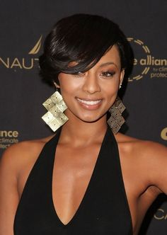 8. Keri Hilson Short Black Hairstyle with Side Swept Bangs