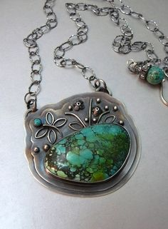 In the Weeds Firefly Pendant with Natural Turquoise by pmdesigns09