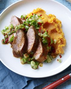 Spice up your dinners with jerk pork and sweet potato mash and pineapple salsa - a low-calorie dinner that really doesn't feel like it.