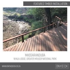 Massaranduba is a South American hardwood which is a very durable and hardwearing timber. It works very well as an outdoor decking material as it is rated highly against rot and insect attack. Decking Material, Timber Deck, Kruger National Park, Railroad Tracks, Outdoor, Outdoors, Outdoor Games, The Great Outdoors, Train Tracks