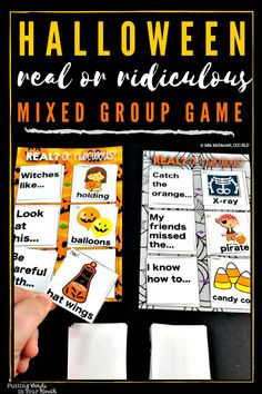 """WARNING: This activity is only for SLPs and students who want to have a ridiculous amount of fun in therapy while getting tons of work done! This game is your """"catch all"""" solution for mixed groups, but it's also great for individual therapy, articulation groups, fluency groups, and language groups. Your students will beg to play it again and again which means your planning is DONE for the month of October! Includes 289 Halloween articulation cards, too! #speectherapyideas… Halloween Speech Therapy Activities, Speech Therapy Games, Articulation Therapy, Speech Activities, Speech Language Therapy, Language Activities, Speech And Language, Articulation Activities, Play Therapy Techniques"""
