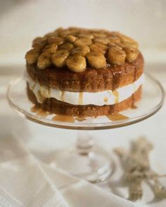 This cake is a variation on the classic New Orleans dessert Bananas Foster. Prepare the banana topping right before serving.