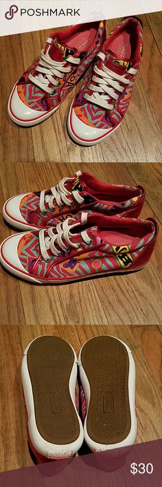 Coach Barrett Zebra Graffiti Red Multi Sneakers Red and multi colored canvas fabric upper with metallic red leather trim. Coach Shoes Sneakers