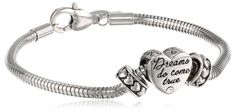 """Disney Stainless Steel Heart Bead Charm 2 Stoppers Large and Extra Large Starter Bracelet, 8.25"""" Disney"""
