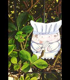 #Calamite per il frigo - #calamita da #collezione con stampa #chef - un prodotto unico di #barbarasanti su #DaWanda #cucina #ricette #cuochi