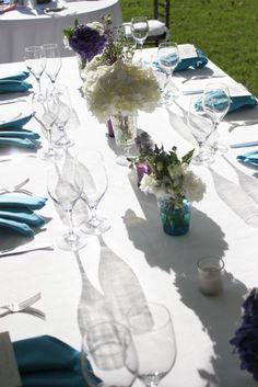 Aqua napkin and wedding design