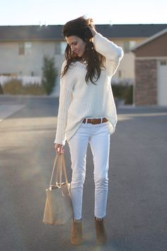 We're loving how fashion blogger Christine Andrew styled our ivory high low sweater - add brown accessories and a little sparkle to an all white outfit for a chic fall look #fallfashion