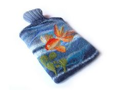 Needle-felted hot water bottle cozy