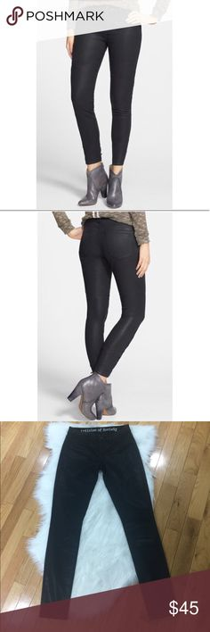 """Articles Of Society Mya Coated Moro Skinny Jeans No stains or holes. 62% cotton 36% poly 2% elastane. 13.5"""" waist across: 9"""" Rise: 18"""" hip to hip: 31"""" Inseam: no trades. Articles Of Society Jeans Skinny"""