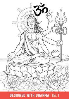Pinsel-Set: Dharma Vol. Buddha Tattoo Design, Shiva Tattoo Design, Buddha Tattoos, Buddha Kunst, Buddha Art, Buddhist Symbols, Religious Symbols, Shiva Art, Hindu Art