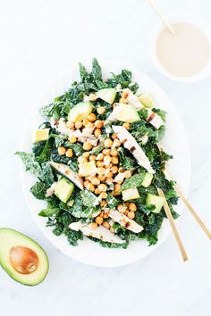 Kale Tahini Caesar Salad with Crispy Chickpeas | Easy prep-ahead recipe. | Vegan-optional and gluten-free. | Click for healthy recipe! | via Loveleaf Co.