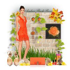 """Amber Flush Rose"" by hanzaturgul ❤ liked on Polyvore featuring Christian Louboutin, Prada, Giorgio Armani, Salvatore Ferragamo, gift, orange, rose and giftideas"