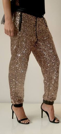 Here's the side view of our lovely sequin joggers! Available in black and gold!