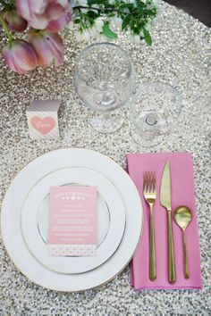 oh i love this pink + gold place setting, including the sequin tablecloth. i'd just swap out the tired tulips with bright peonies :)