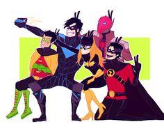 Batfamily. Nightwing, Batgirl, Red Hood, Red Robin, & Robin.