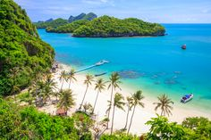Birds eye view of Angthong national marine park, koh Samui, Thailand. Very close to both Koh Phangan, and Koh Tao. So if you ever visit 1 of these islands, then you should def. check this place out.. Paradise :)