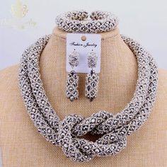 #BestPrice #Fashion 2017 Copper Fine Jewelry Set Silver Beads Dubai Choker Necklace 2 Layers Nigerian Wedding African Beads Jewelry Sets…