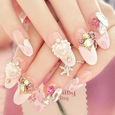 SpritechTM 24 Pre Design Bling Rhinestone Diamond Design Fake Nail Piece for Bride Salon Laday Daily Use Size One Size Color style1 Model  Hardware Store ** Check this awesome product by going to the link at the image.