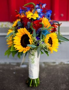 Sunflower wedding bouquet with other flowers mixed in