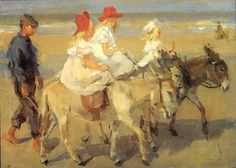 Ezeltje rijden langs het strand, Isaac Israels, ca. 1890 - ca. 1901 - Isaac Israels - Artists - Explore the collection - Rijksmuseum Renoir, Monet, Wale, Dutch Painters, Art Prints For Sale, Dutch Artists, Oil Painting Reproductions, Equine Art, Animal Paintings