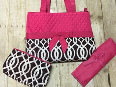 A personal favorite from my Etsy shop https://www.etsy.com/listing/271986106/monogrammed-diaper-bag-3-piece-set