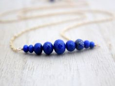 Lapis Lazuli Bar Necklace In Gold Filled, Graduated Cobalt Blue Natural AAA Gemstone Necklace , Rose Gold , Sterling Silver - Circlet Diamond Initial Necklace, Gold Bar Necklace, Letter Necklace, Gold Choker, Gemstone Necklace, Choker Jewelry, Beaded Choker, Rhinestone Jewelry, Jewelry Box