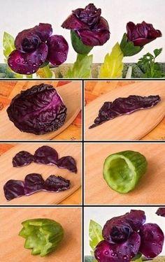 РЕЦЕПТЫ И СОВЕТЫ ХОЗЯЙКАМ: Самый легкий способ сделать любое блюдо праздничным: цветы из овощей. Красотища!