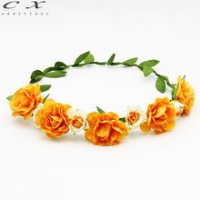 Pure color roses Handmade Woman Girls Pink Fabric Flower Crown Garland Wedding Party Bride Children Hair Accessories Headband(China (Mainland))