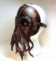 Steampunk Cthulhu Mask , unique leather squid lovecraft, with riveted lenses tooled with brass and copper gears sprockets. Steampunk Cosplay, Viktorianischer Steampunk, Design Steampunk, Steampunk Kunst, Steampunk Clothing, Steampunk Fashion, Steampunk Octopus, Steampunk Gas Mask, Steampunk Artwork