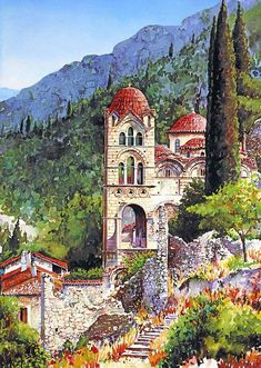 Today we want to show you stunning watercolor paintings of Greece created by artist Pantelis Zografos. For 30 years Pantelis Zografos doesn't live in Greece, but love to Colour Architecture, Watercolor Architecture, Watercolor Landscape, Landscape Paintings, Watercolor Paintings, Watercolors, Ancient Architecture, Beautiful Paintings, Beautiful Landscapes