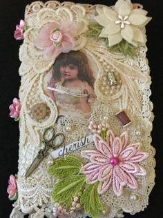 Pocket book by Jean Wragg Shabby Chic Canvases, Shabby Chic Fabric, Doilies Crafts, Lace Doilies, Fabric Art, Fabric Crafts, Paper Crafts, Fabric Book Covers, Fabric Books