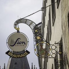 Ornate sign for Sion Kolsch Brauhaus in Cologne, Germany