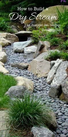 Award-winning landscape designer, Jan Johnsen, explains what a dry stream is, why it's a good addition to the garden, and how to build one I wanna do this to my front yard ditch along the road . Landscaping With Rocks, Front Yard Landscaping, Backyard Landscaping, Landscaping Ideas, Landscaping Software, Dry Riverbed Landscaping, Backyard Ideas, River Rock Landscaping, Commercial Landscaping