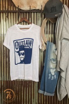 "The Outlaw - ""Outlaw"" Waylon Jennings graphic t-shirt. Navy graphics on white burnout. Retro feel and design. Super soft and lightweight. Unisex sizing."