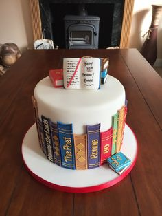 Eat the cake! Fab Cakes, Cute Cakes, Yummy Cakes, Fondant Cakes, Cupcake Cakes, Open Book Cakes, Library Cake, Fantasy Cake, Cute Birthday Cakes
