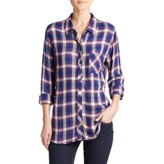 Rails Hunter Plaid Shirt ($136) ❤ liked on Polyvore featuring tops, apparel & accessories, plaid top, rails shirts, shirts & tops, woven shirt and long sleeve shirts