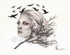 Dreams Cherry Blossom Flying Birds Spring Art Print Glossy Emo Fantasy Girl Zindy Nielsen