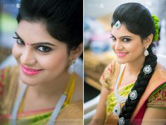 South Indian bride. Diamond Indian bridal jewelry. Jhumkis.Mustard yellow silk kanchipuram sari.Braid with fresh jasmine flowers. Tamil bride. Telugu bride. Kannada bride. Hindu bride. Malayalee bride.Kerala bride.South Indian wedding