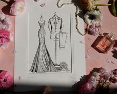 A fashion sketch capturing the wedding day style of both Bride And Groom. The perfect wedding gift for the couple who have everything and love style. Wedding Dress Illustrations, Fashion Illustration Dresses, Fashion Sketches, Custom Wedding Dress, Wedding Dresses, Wedding Gifts, Wedding Day, 1st Anniversary Gifts, Special Birthday