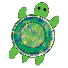 Sponge-paint the bottom of the bowl yellow, blue, and green. Allow time for the paint to dry. Place glue around the inside rim of the bowl. Press the bowl onto the turtle. Use the marker to draw eyes on the turtle.