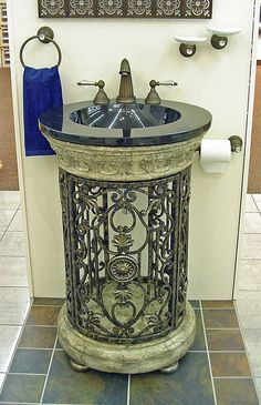 wrought iron sink | ... sink. The wrought iron is open, allowing for some extra storage
